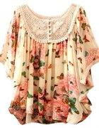 różowa bluzka w kwiaty i motyle z koronką