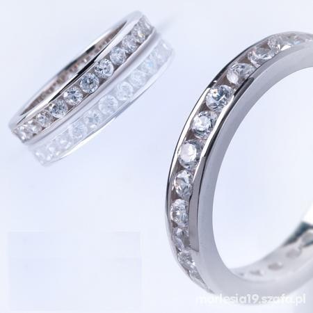 Śliczna SREBRNA obrączka pierścionek z cyrkoniami