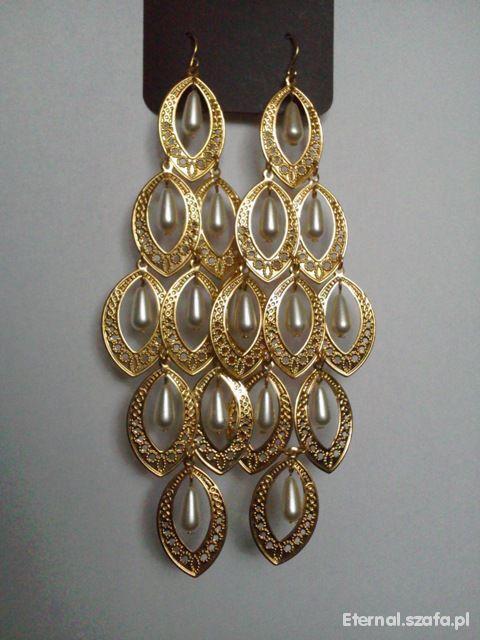 Długie złote kolczyki z perłami PRIMARK