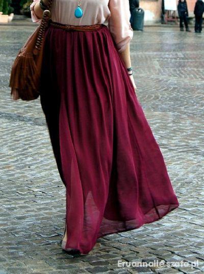 Bordowa spódnica maxi