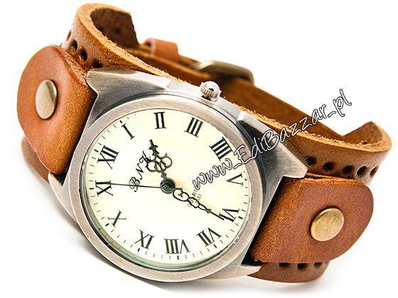 Zegarek retro szeroki Punkowy Skórzany ćwieki ZN23