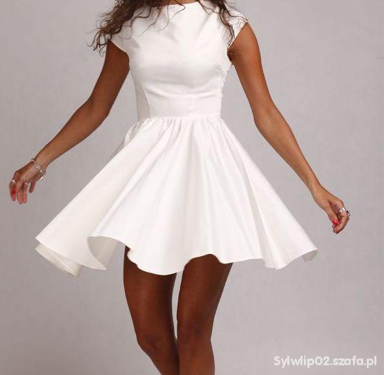 b71b5494af sukienka rozkloszowana biała Audrej Siwiec w Suknie i sukienki ...