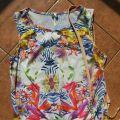 Bluzka top boho floral vintage wiązanie kwiaty