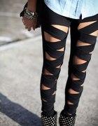 Bandażowe bondage legginsy leginsy czarne