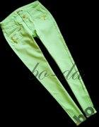 Miętowe pistacjowe spodnie zip...
