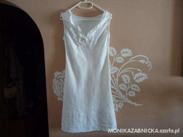 Biała lniana WŁOSKA sukienka j Nowa roz M
