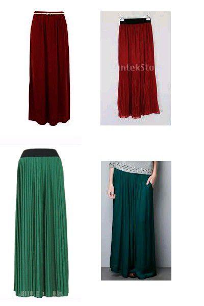 maxi skirt szmaragd lub bordo