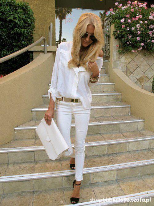 białe spodnie beshka rurki 34 xs w Spodnie Szafa.pl