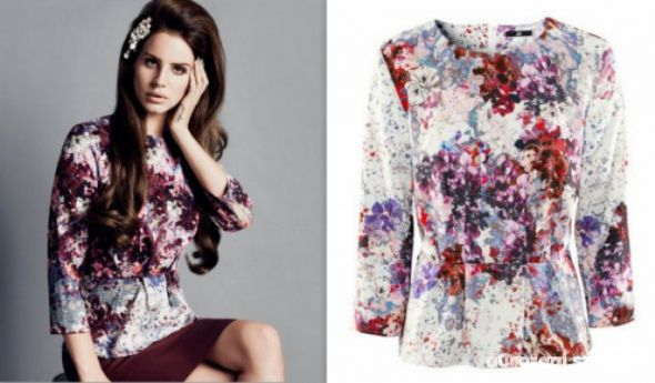 Bluzka z baskinka h&m lana del rey kwiaty...
