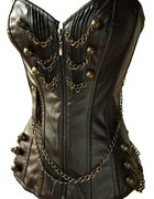 Gorset Steampunk gothic victorian skóra łańcuch