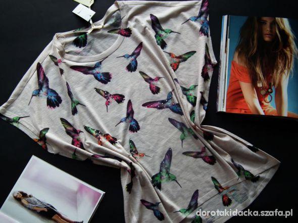 T shirt bluzka z nadrukiem haftowany koliber...