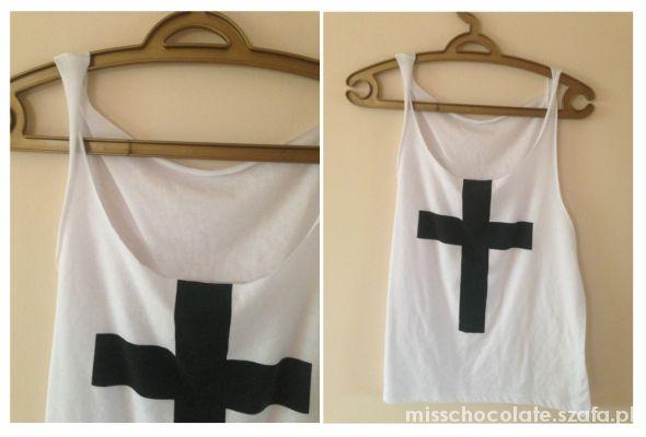 bluzka z krzyżem SWAG wycięte rękawki