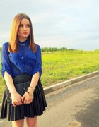 Leather skirt blue shirt