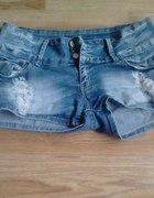 spodenki jeansowe wyzszy stan 38M koronka