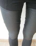 legginsy skórzane wstawki hm s