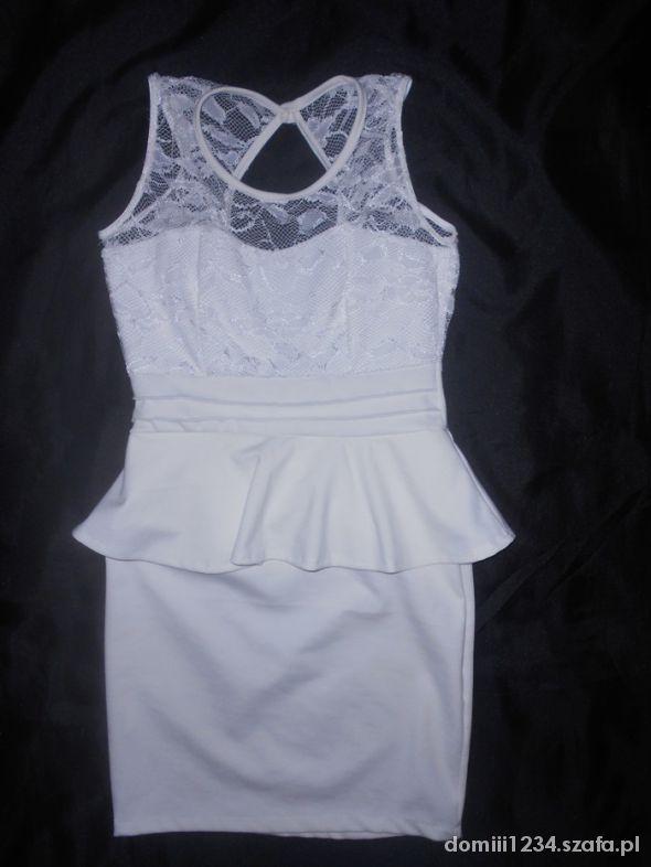biała sukienka koronka 36 plecy baskinka 38