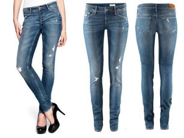 Jeansy spodnie slim leg skinny low H&M przetarcia
