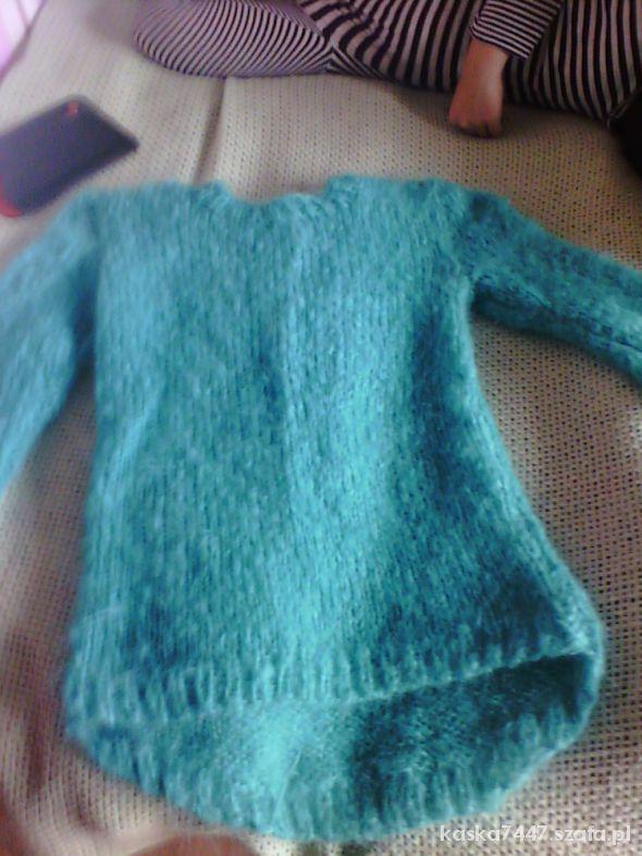 sweter moherowy turkus oversize