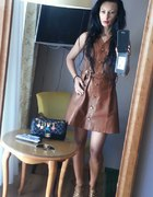 Leather dress...