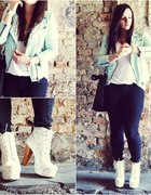Mint studded jacket with white litas