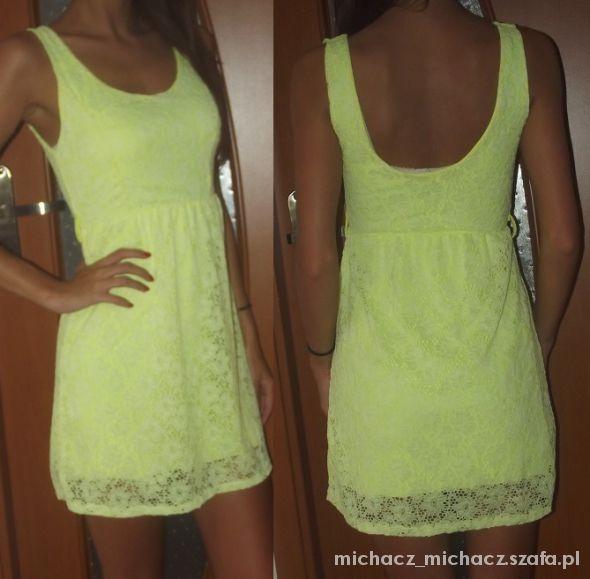 zolta sukienka koronka neon