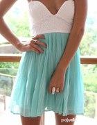 Sukienka biało miętowa
