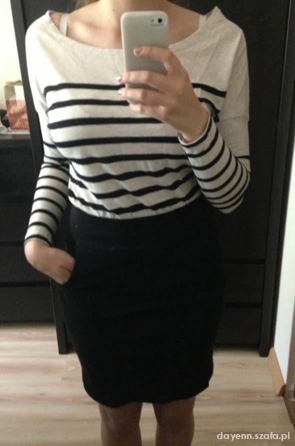 Sukienka beżowo czarna