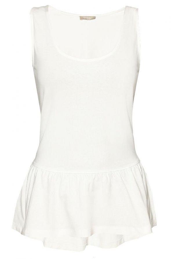 Biała Granatowa bluzka top baskinka ORSAY