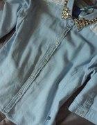 CK Calvin Klein koszula jeansowa ćwieki koronka
