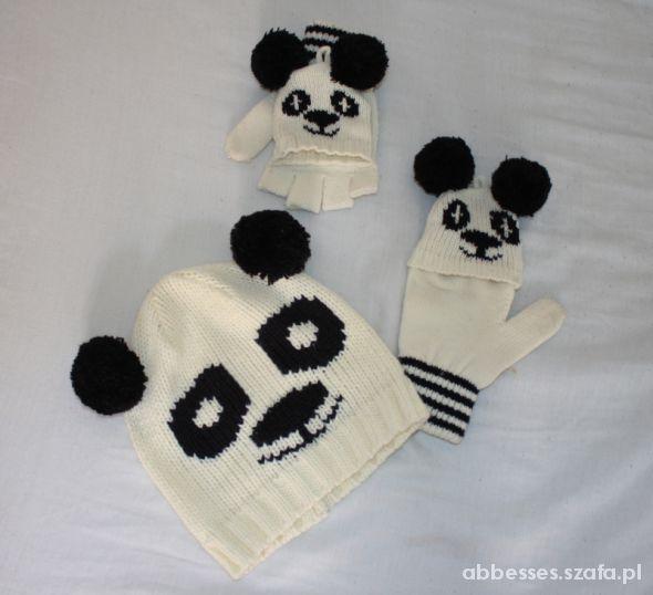 Komplety Komplet czapka i rękawiczki panda