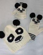 Komplet czapka i rękawiczki panda