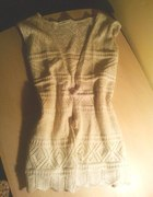 kamizelka sweterek ażurkowa nude nowa Cudo...