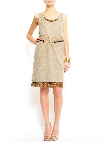 złoto bezowa sukienka Mango