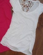biały T shirt haft