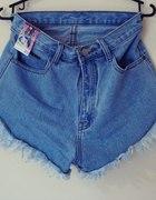 jeansowe szorty wysoki stan NOWE roz M