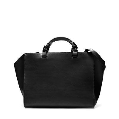 Czarna torebka shopper bag ZARA rączki TRAPEZ