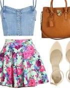 jeansowy bralet plus spódnica floral