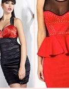 Sukienki czerwono czarne rozmiar 38