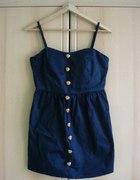 Granatowa sukienka z guzikami