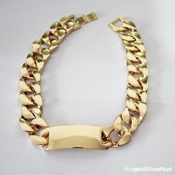 Naszyjnik gruby złoty łańcuch z blaszką Rihanna