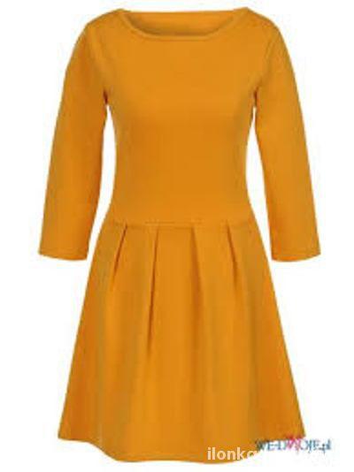 Mini sukienka Musztardowa XS 34