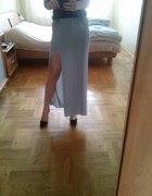 Szary melange dresowa spódnica maxi dzianina H&M...