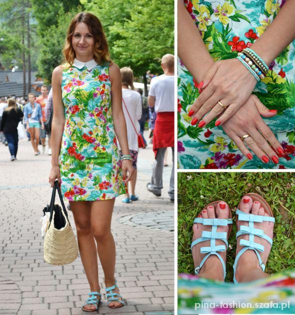 Romantyczne Floral dress 60s