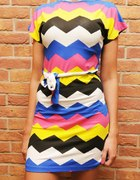 sukienka aztecki wzór kolorowa XS S M L...