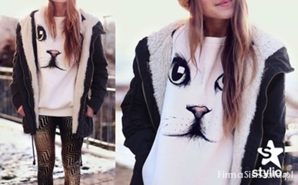 Koszulka bluza oczy kota SZUKAM