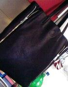 Czarna shopper bag zipy MAHEL Torebka NOWA z metka