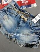 Przycierane spodenki jeans DZIURY koronka