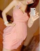 Niepowtarzalna różowa sukienka rozm S
