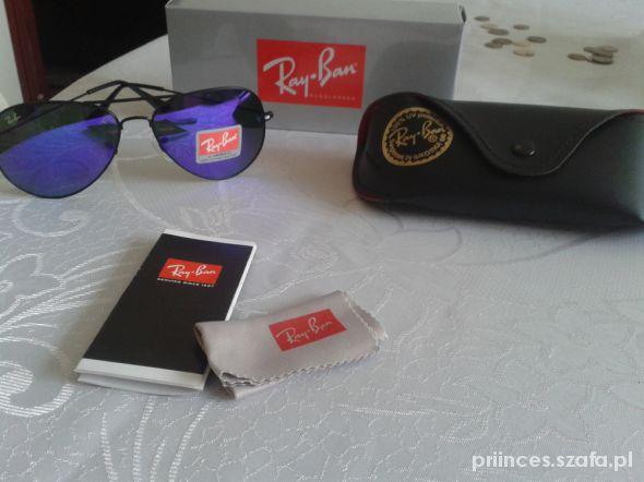 Ray Ban sunglasses fioletowe szkla aviatorki