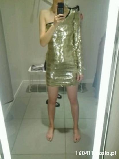 Suknie i sukienki Złota sukienka na jedno ramię